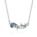 925 Sterling Silver Beautiful Shell and Starfish Pendant Necklace Fashion Jewelry For Women