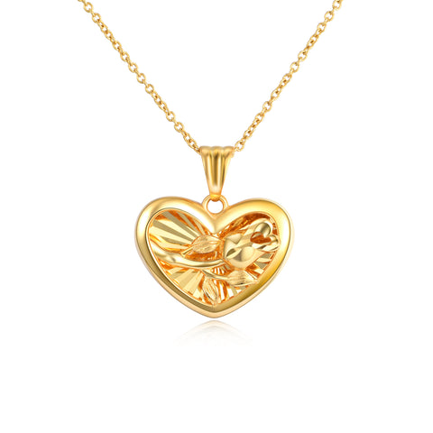18K Gold Fashion Rose Pattern Heart Shaped Pendant Necklace
