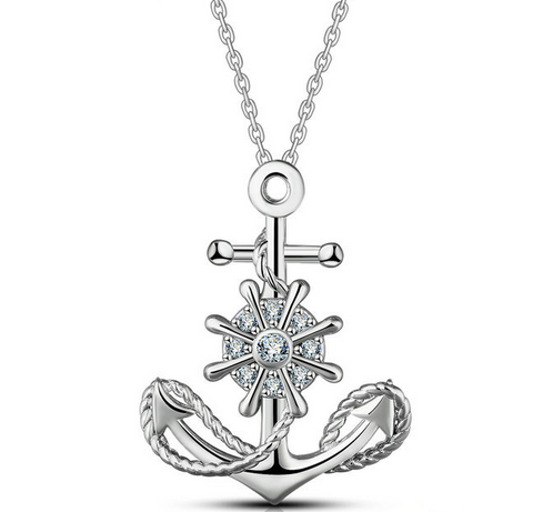 S925 sterling silver nautical anchor rudder zircon necklace pendant European and American fashion jewelry