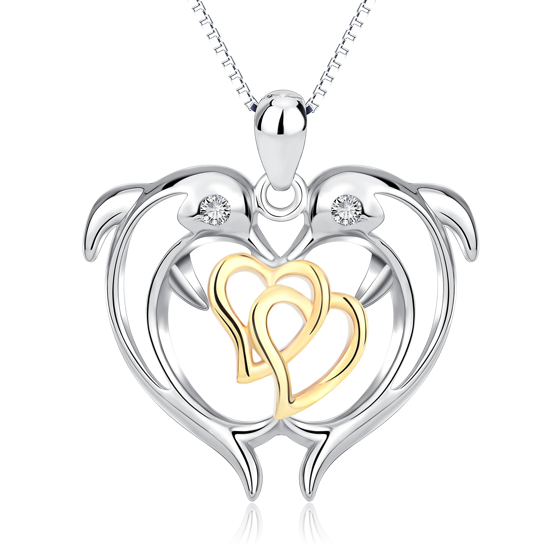 Gold Linked Heart Dolphin Necklace Mother, Daughter, Grandmother Necklace