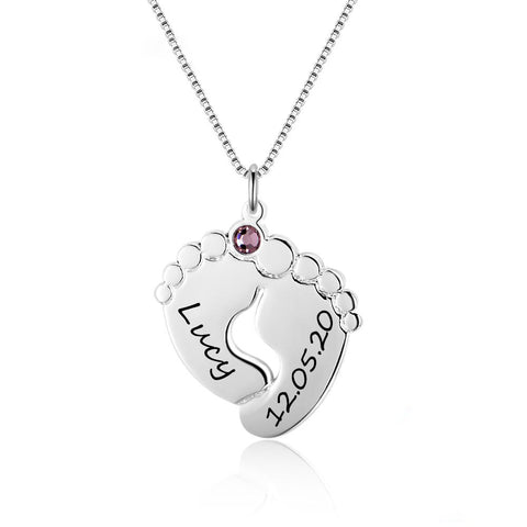 Personalized Baby Feet Necklace with Birthstone 925 Sterling Silver Customized Name Pendant Necklace Gift for Mother