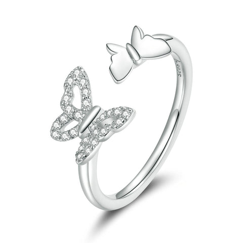 925 Sterling Silver Flying Butterflies Open Adjustable Finger Rings for Girlfriend Fashion Jewelry