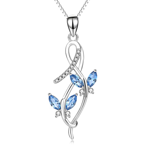 Blue Butterfly Crystal Necklace Sweater Traveling Jewelry Necklace