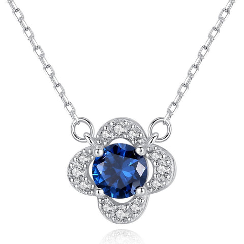 Four-leaf clover Blue Round Birthstone  cubic Zircon  S925 Sterling Silver Necklace for Women