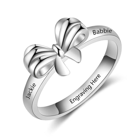 Personalized Engraved Name Promise Rings for Women Custom BFF Best Friend BowKnot Ring Gift for Girlfriend