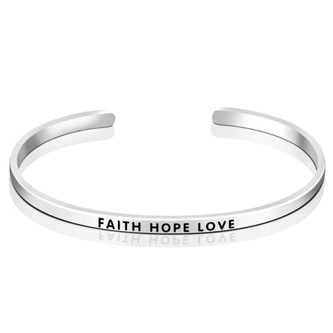 FAITH HOPE LOVE Engraved Bangle Silver Wholesale Design Bangle