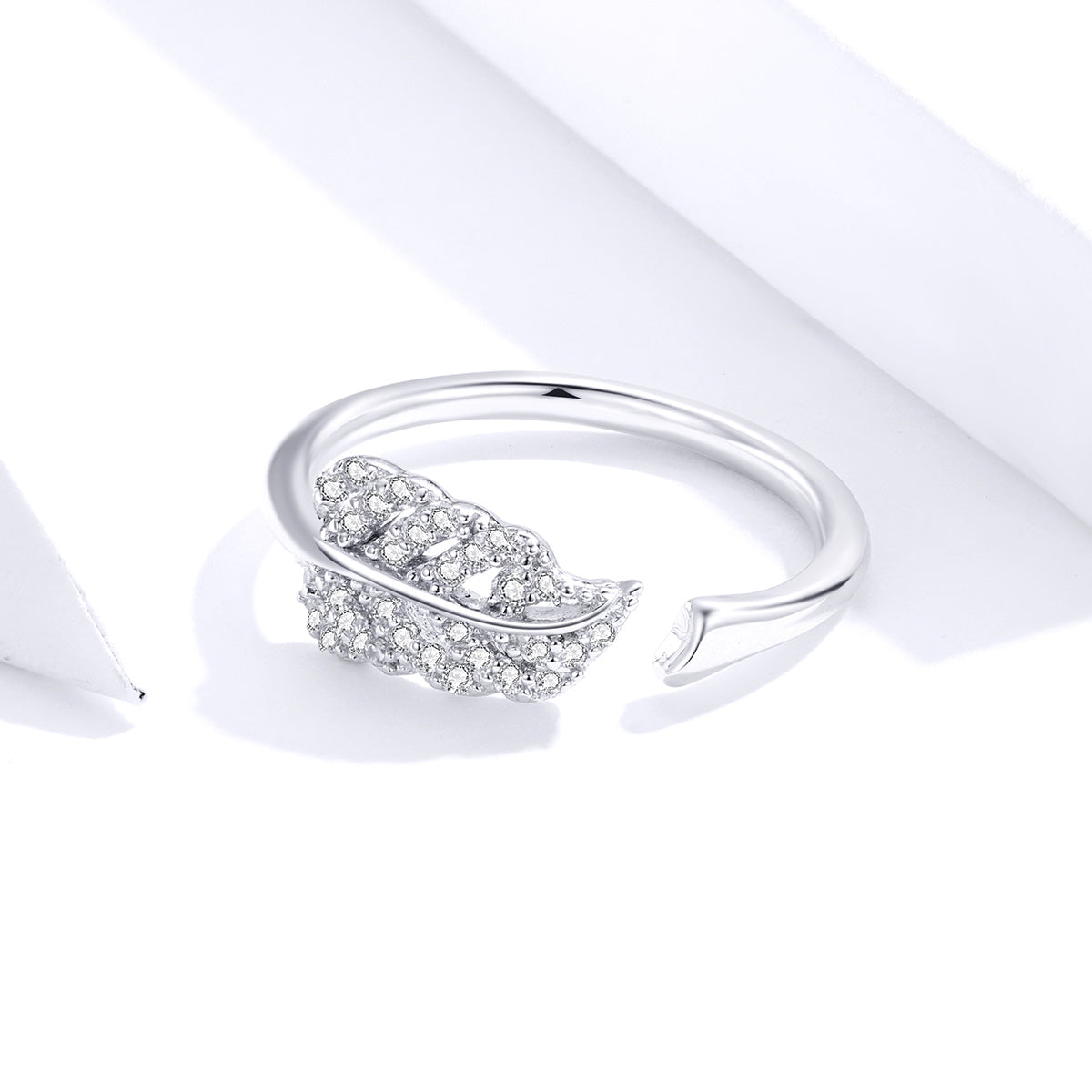 S925 sterling silver feather ring white gold plated zircon ring