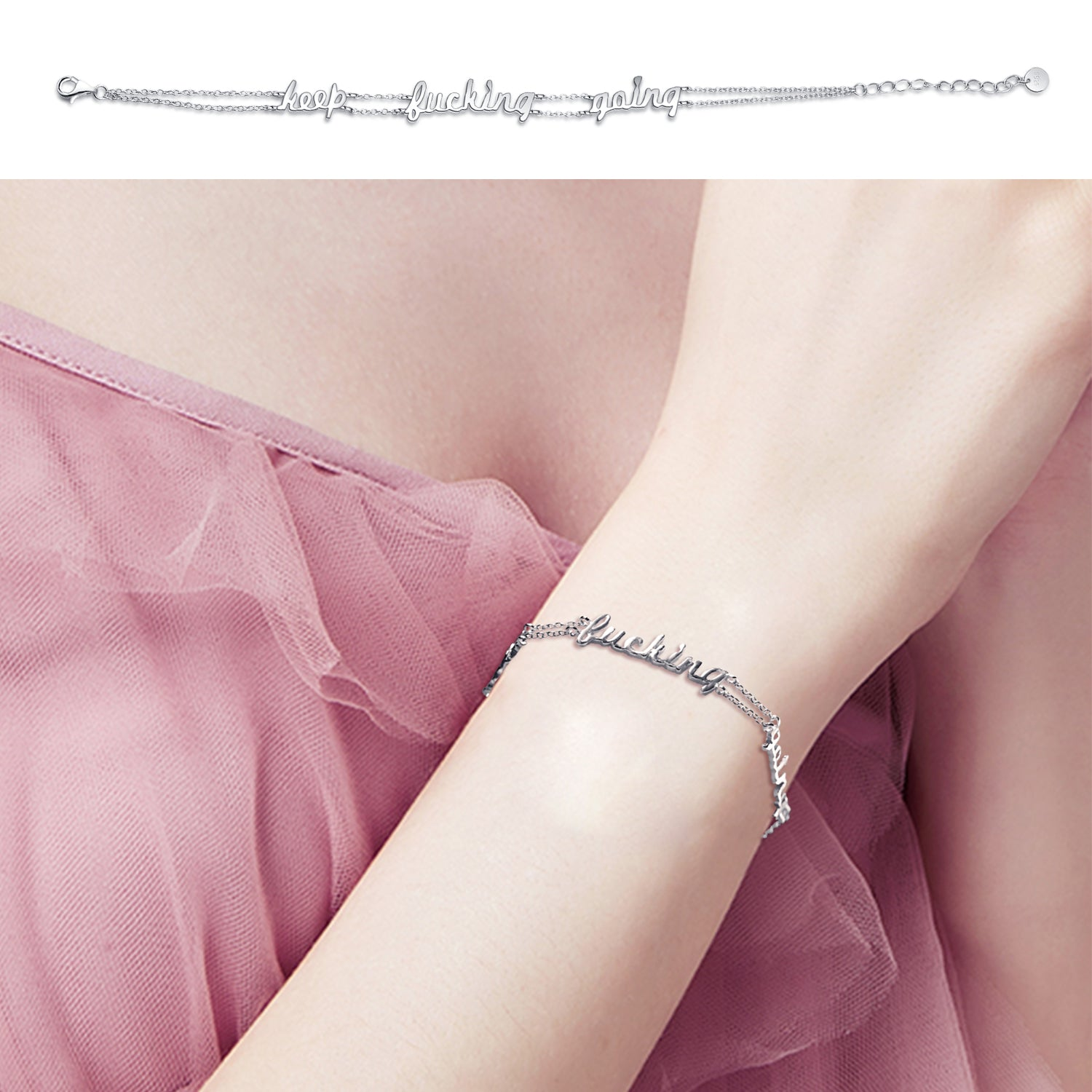 Jewelry Women Custom Adjustable Double Chain Message Engraved  Bracelet