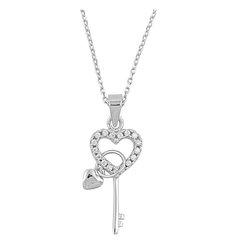 Heart and Key cubic zirconia pendant necklace