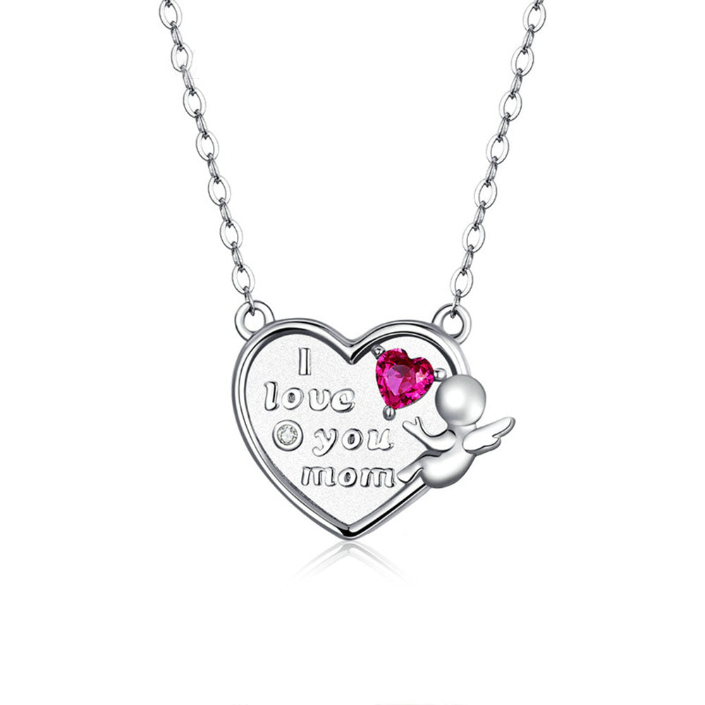 925 Sterling Silver Warm Angel with Heart Shape Pendant Necklace Precious Jewelry For Women