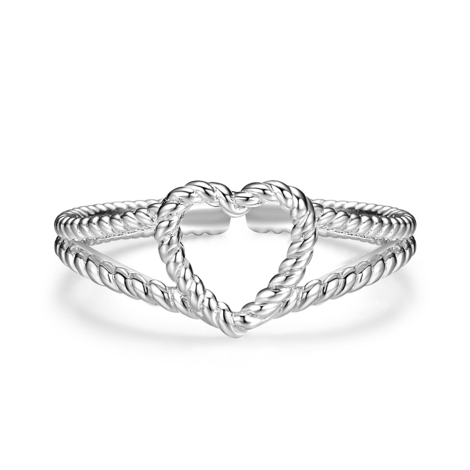 White Gold Plated Heart Shape Forever Love Silver Ring