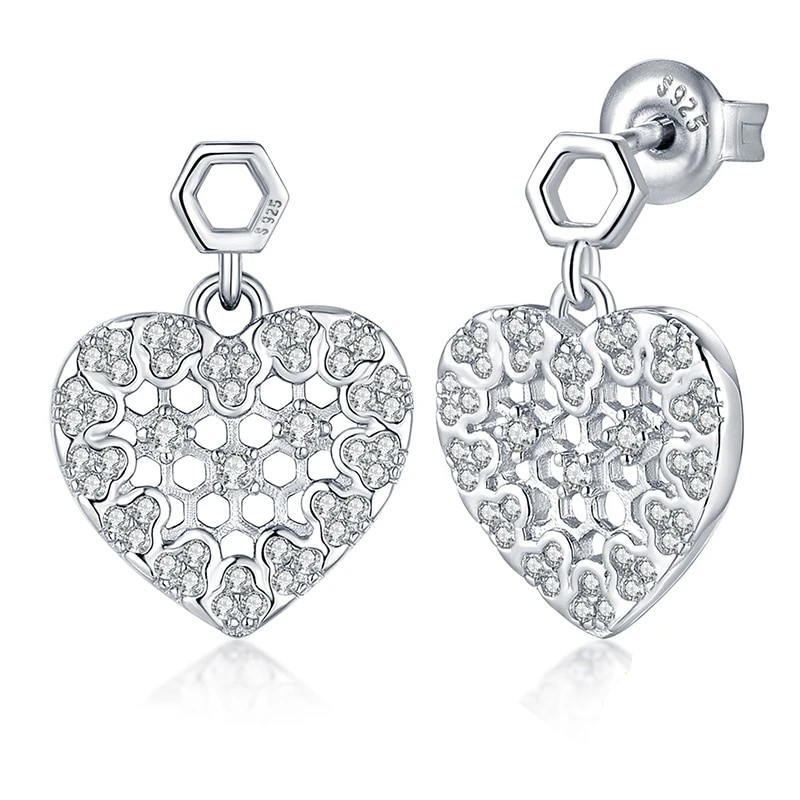 Silver Cubic Zirconia Hexagon Honeycomb Hollow Heart Stud Earrings