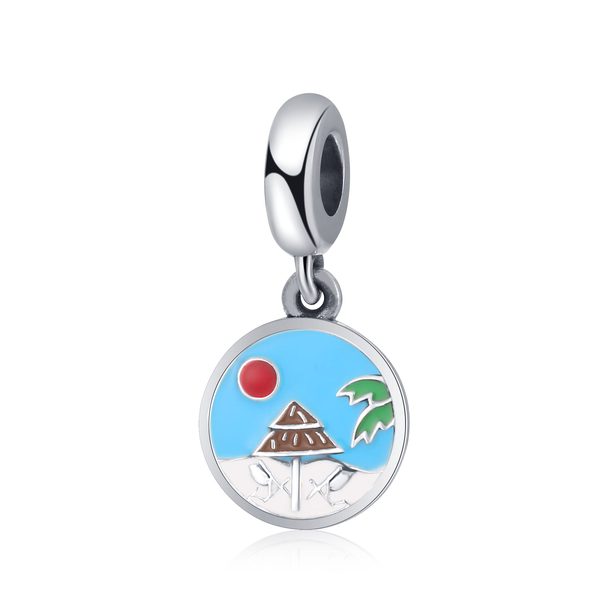 Silver Bracelet Charms Beach In The Summer Engraved Enamel Charms