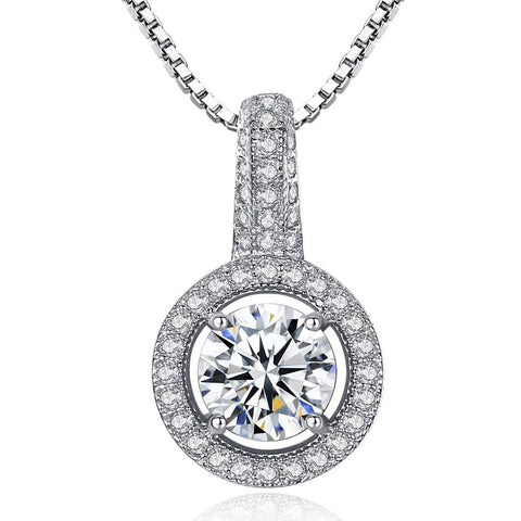 round zircon jewelry pendant S925 sterling silver necklace  jewelry wholesale