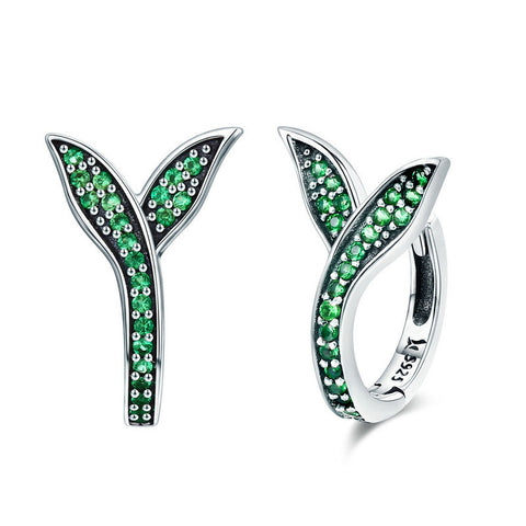Spring Collection Flower Buds Green CZ Hoop Earrings