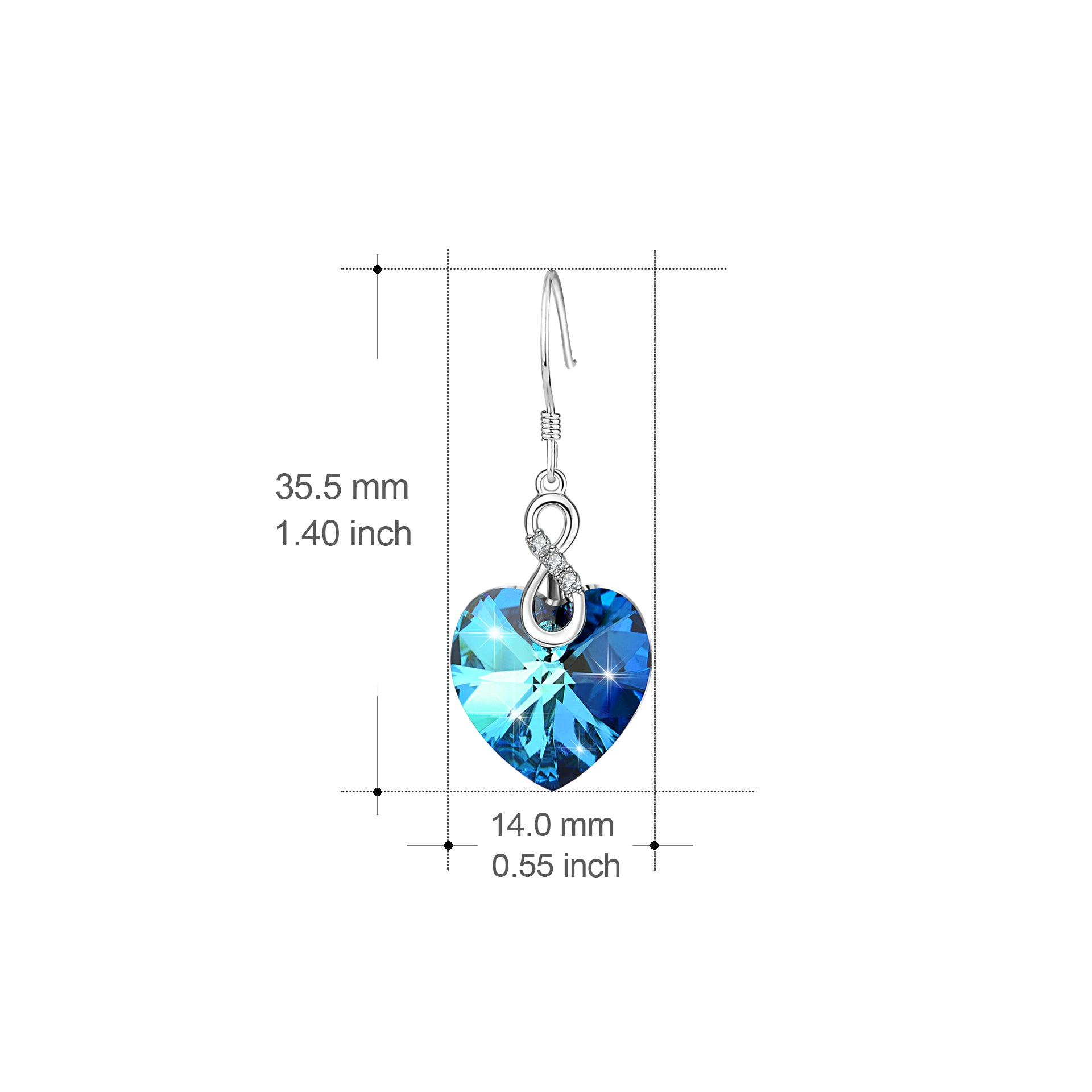 Women Accessories Earrings Heart Shape Drop Dangle Earrings Crystal