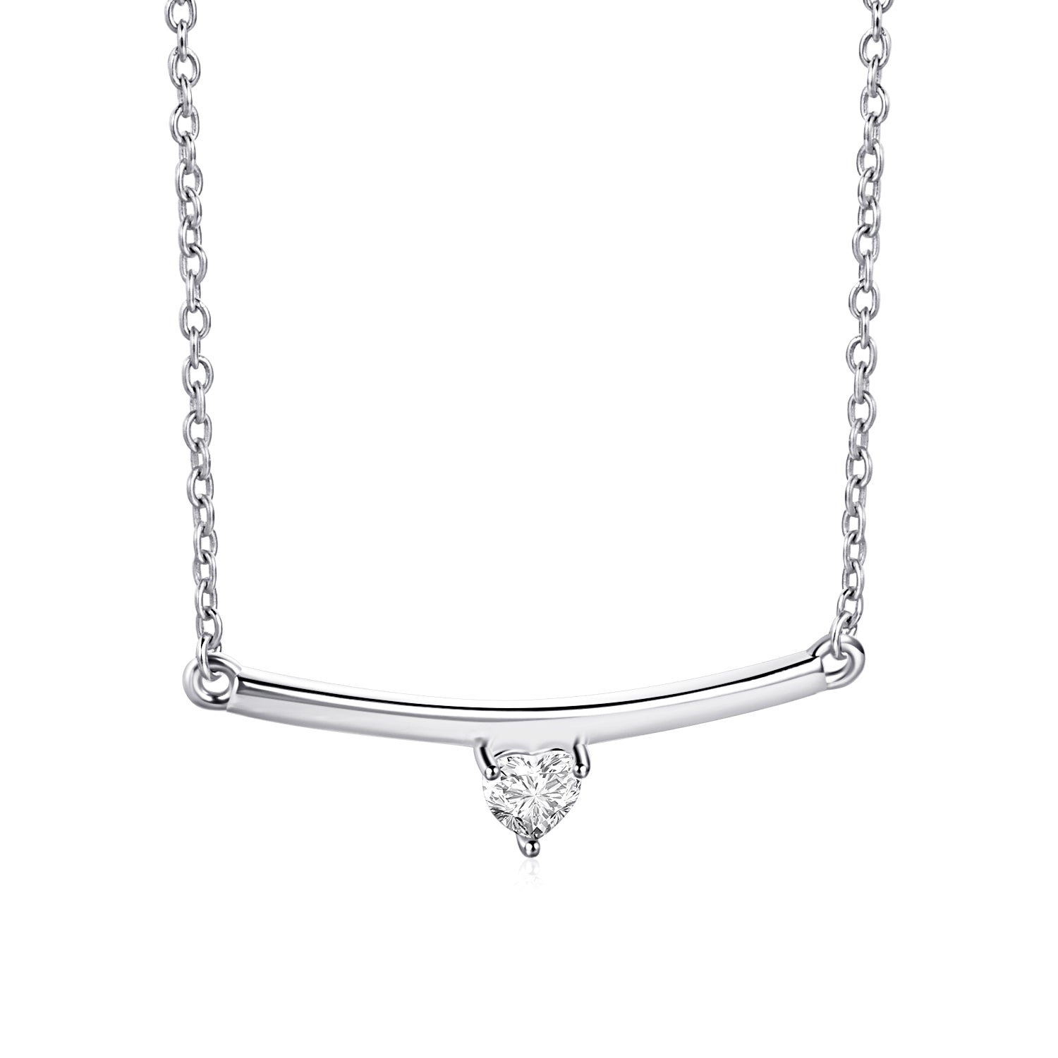 Bar Necklace Choker Cubic Zircon Rhodium Plating Silver Necklace