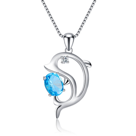 Dolphin Necklace Animal Jewelry Blue Zirconia Women Silver Necklace