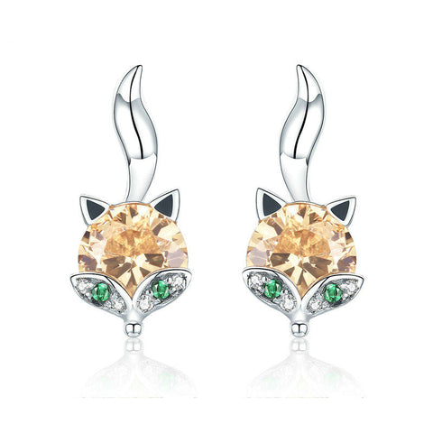 Cute Crystal Fox Stud Earrings