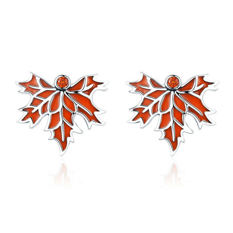 Autumn Maple Tree Leaves Stud Earrings