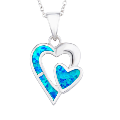 Luxury Opal Heart Necklace Silver Wholesale Chain Jewelry Design