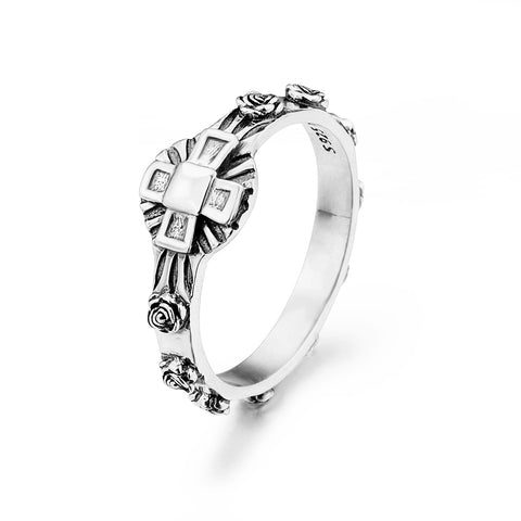 Religious Cross Rings Wholesale Silver Cool Design Men Rings