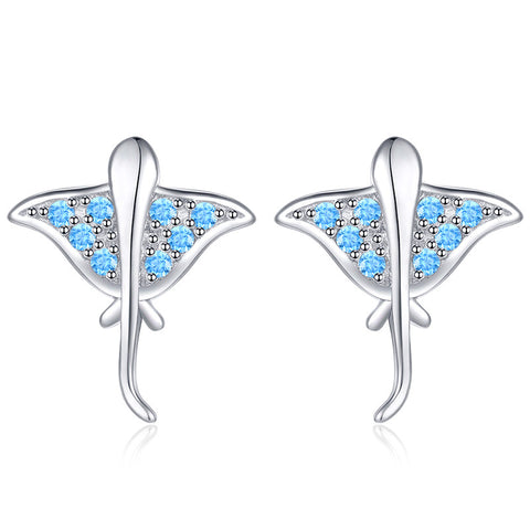 Petite and Lovely Crystal Zircon Animal Stud Earrings S925 Sterling Silver Earrings