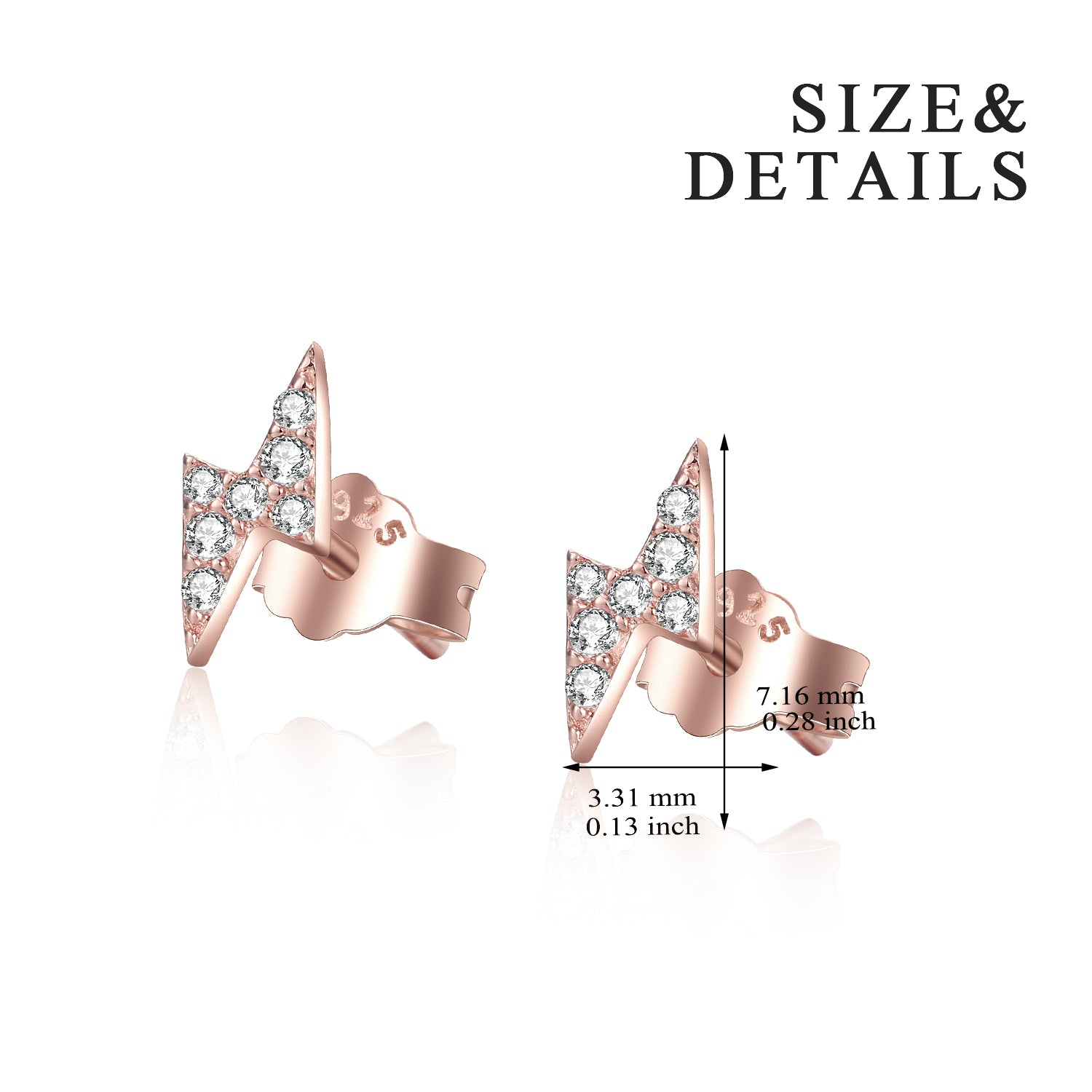 Wholesale Small Order Latest Designs Classic Lightning Stud Earrings Rose Gold Plating