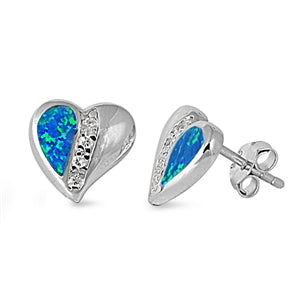 Opal Heart Stud Earrings