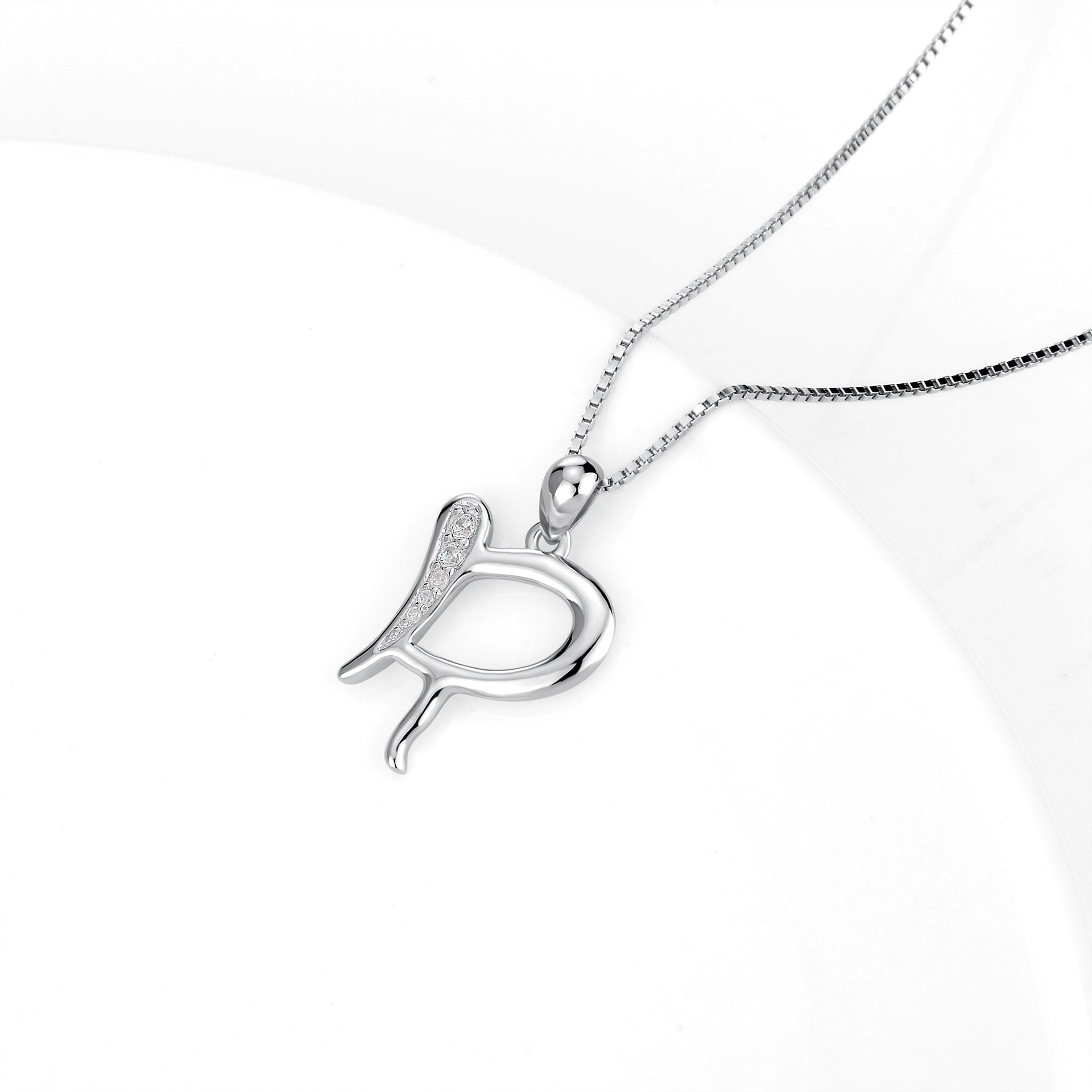 letter R pendant necklace real silver elegant jewelry necklace