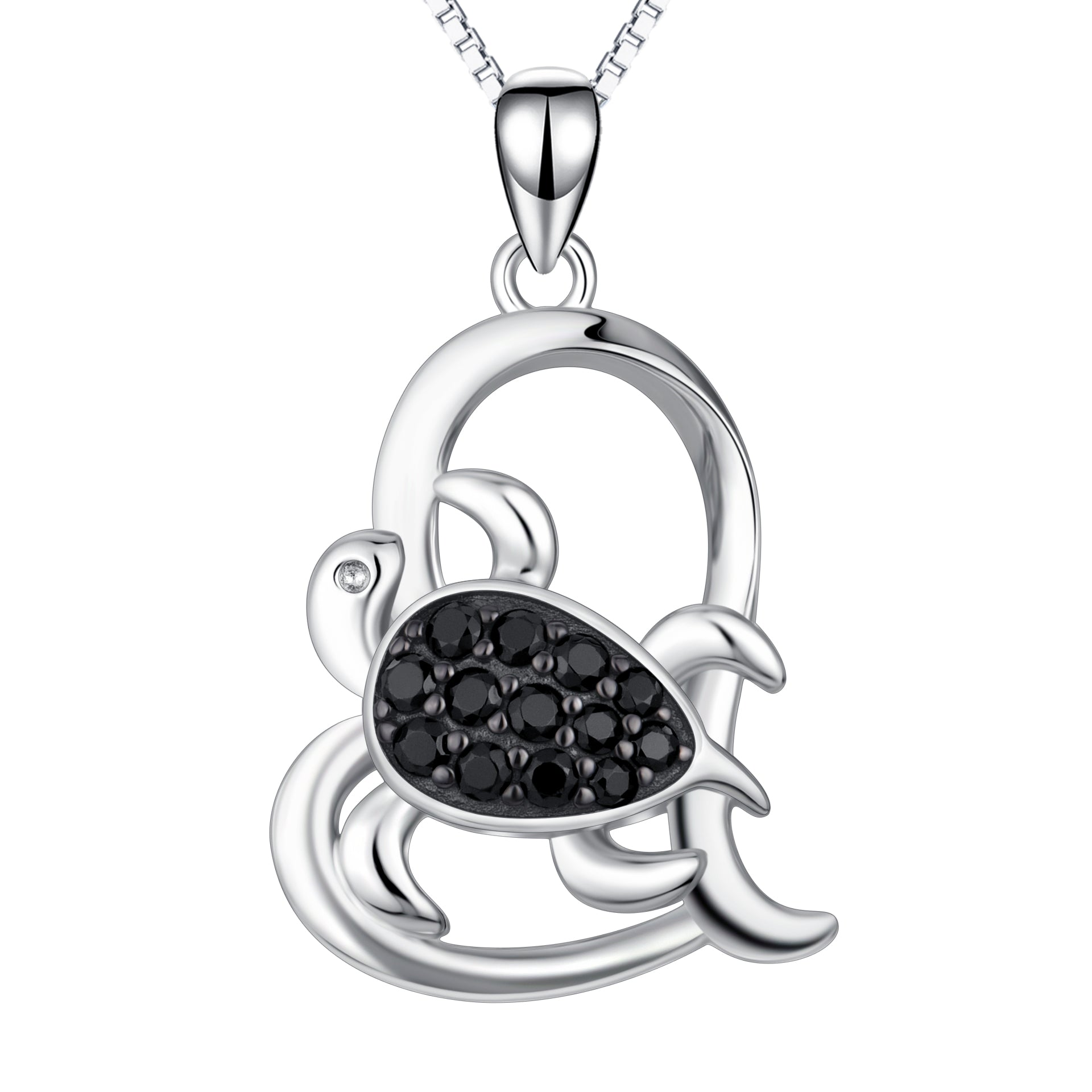 Black zircon turtle necklace heart shaped love male jewelry necklace