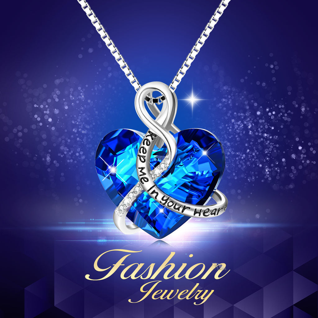 2019 New Year Gemstone Jewellery Blue Colors Heart Shape Love Necklace For Women