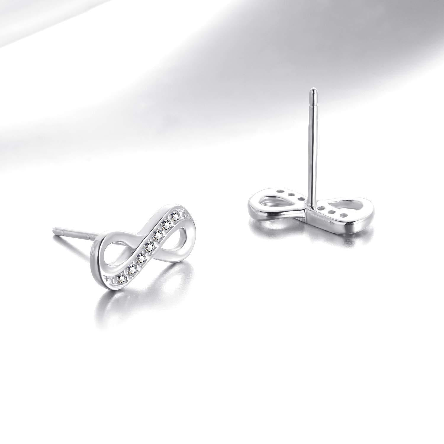 S925 Sterling Silver Fashion Personality Micro-Inlay 8 Word Earrings Jewelry Cross-Border Exclusive