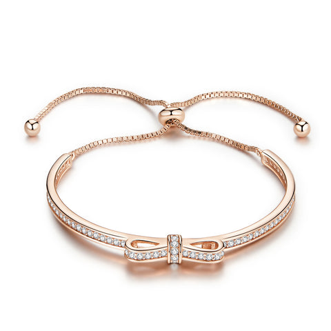 silver rose gold plated zircon sweet Ribbon Bow bracelet