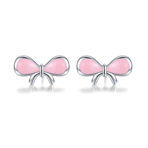 Drop Oil Cute ribbon bow Earrings S925 Sterling Silver Stud Earrings for girl