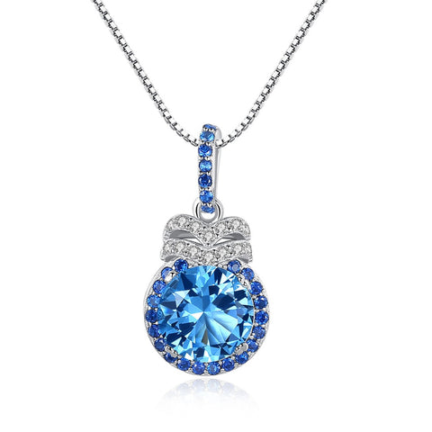 Blue Round Birthstone Cubic Zircon Pendant Fashion Silver Necklace Wholesale
