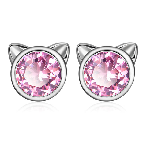 Wholesale Pink Zircon Cat Ear Christmas Gift Jewelry Animal Earrings for Women 2019