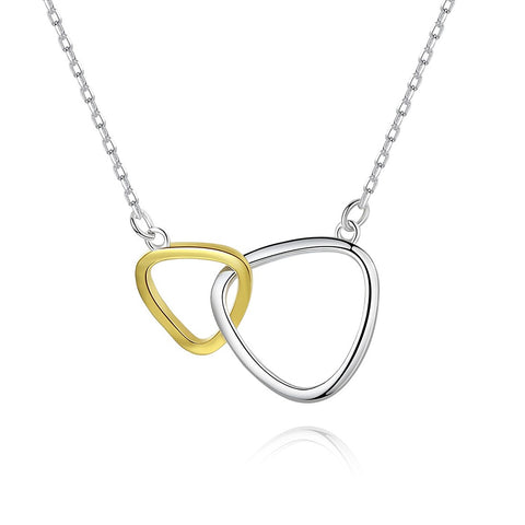 Interlock Triangle Necklace Two Tone 925 Sterling Silver Necklace With 18inch