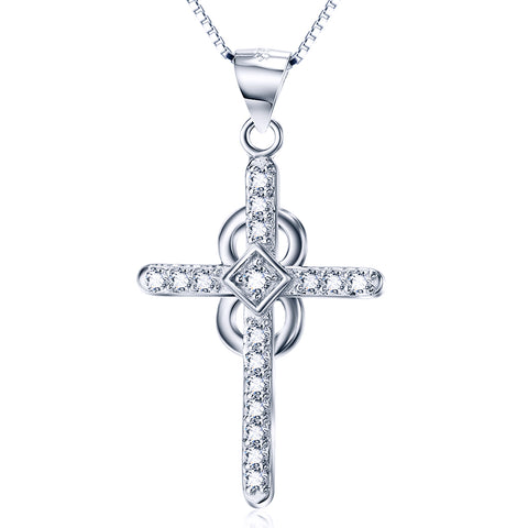 Religious White Cubic Zirconia Necklace Factory 925 Sterling Silver Necklace