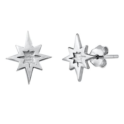 Silver  Twinkle Star Stud Earrings