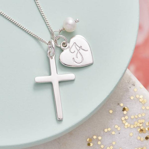 "925 Sterling Silver Personalized Heart  Engravable Cross Necklace Adjustable 16""-20"""