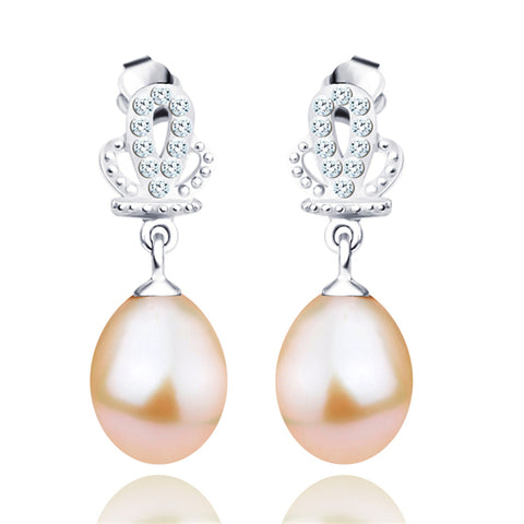 Latest Crown Pearl Mount Earrings Design Rhodium Plating Pearl Earring