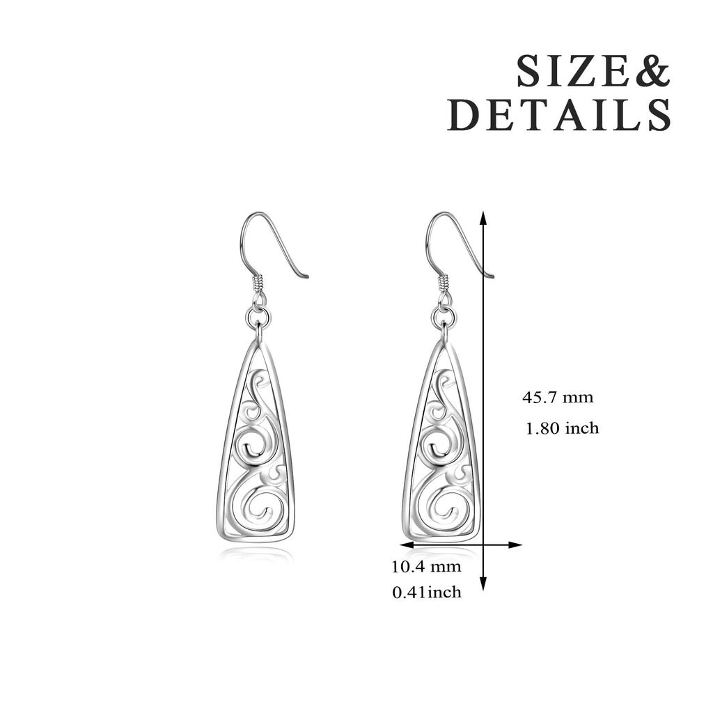 Filigree Dangle Earrings Triangle Hollow Pendant Drop Earrings 2019