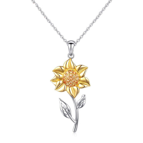 S925 Sterling Silver Creative Personality Sunflower Pendant Necklace Female Jewelry Cross-Border Exclusive