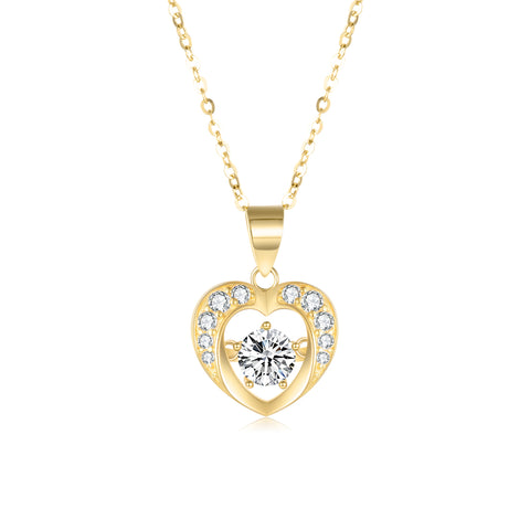 18K Gold Fashion Korean Version Of The Clavicle Personality Heart Shaped Cubic Zirconia Necklace