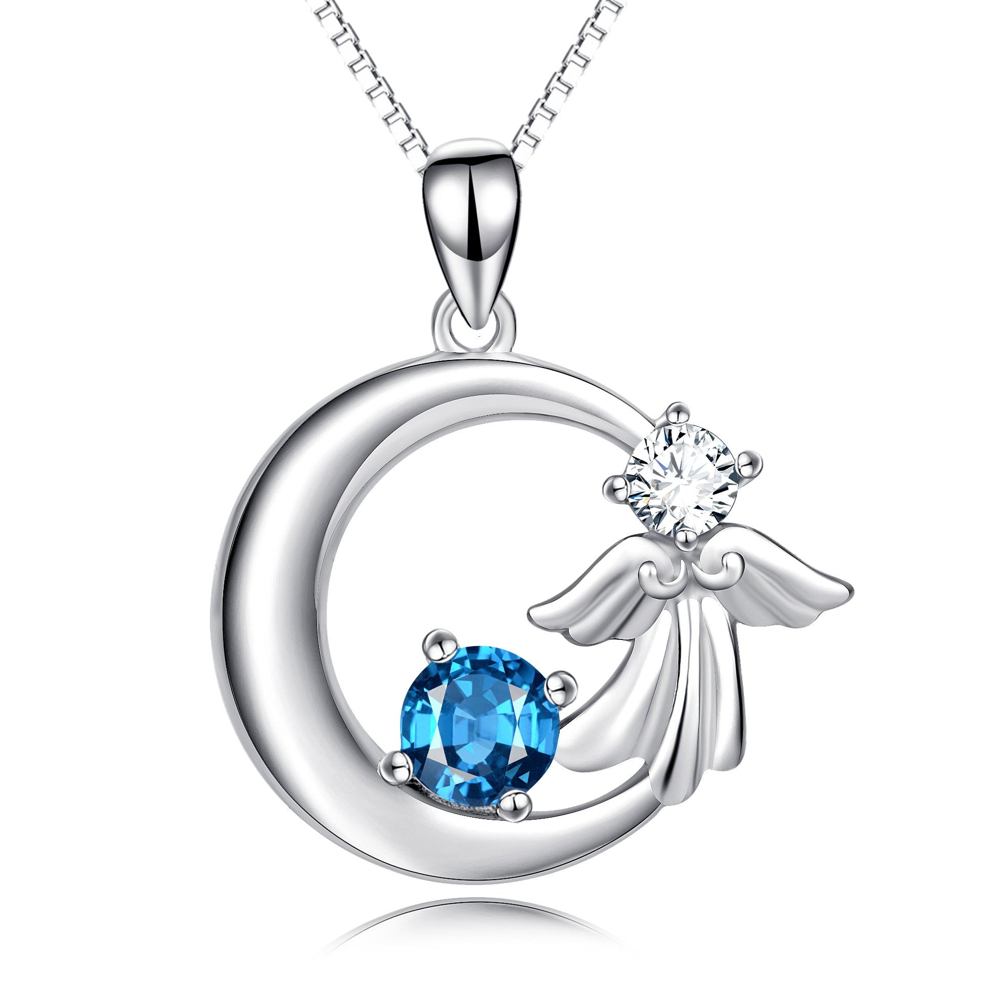Moon Angel Necklace Blue Zirconia Mother Loving Gift Necklace