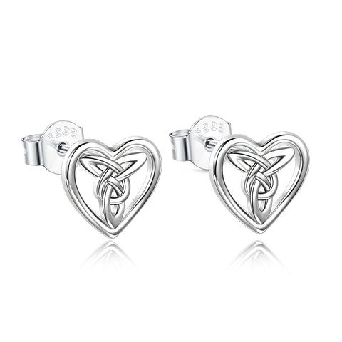 Celtic Knot Loving Earrings Heart Shape Hollow Fashionable Jewelry Women