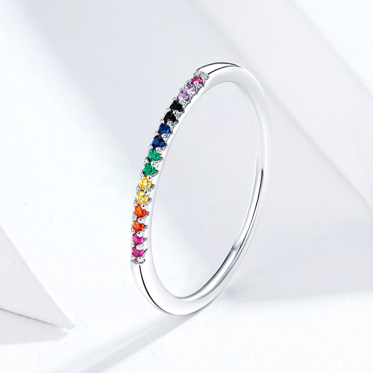 S925 sterling silver colorful zircon ring white gold plated ring