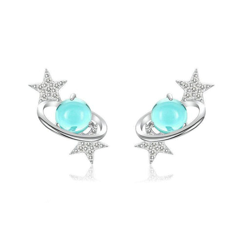 Blue Planet with Star Stud Earrings for Women Authentic 925 Sterling Silver Design Universe Fashion Jewelry