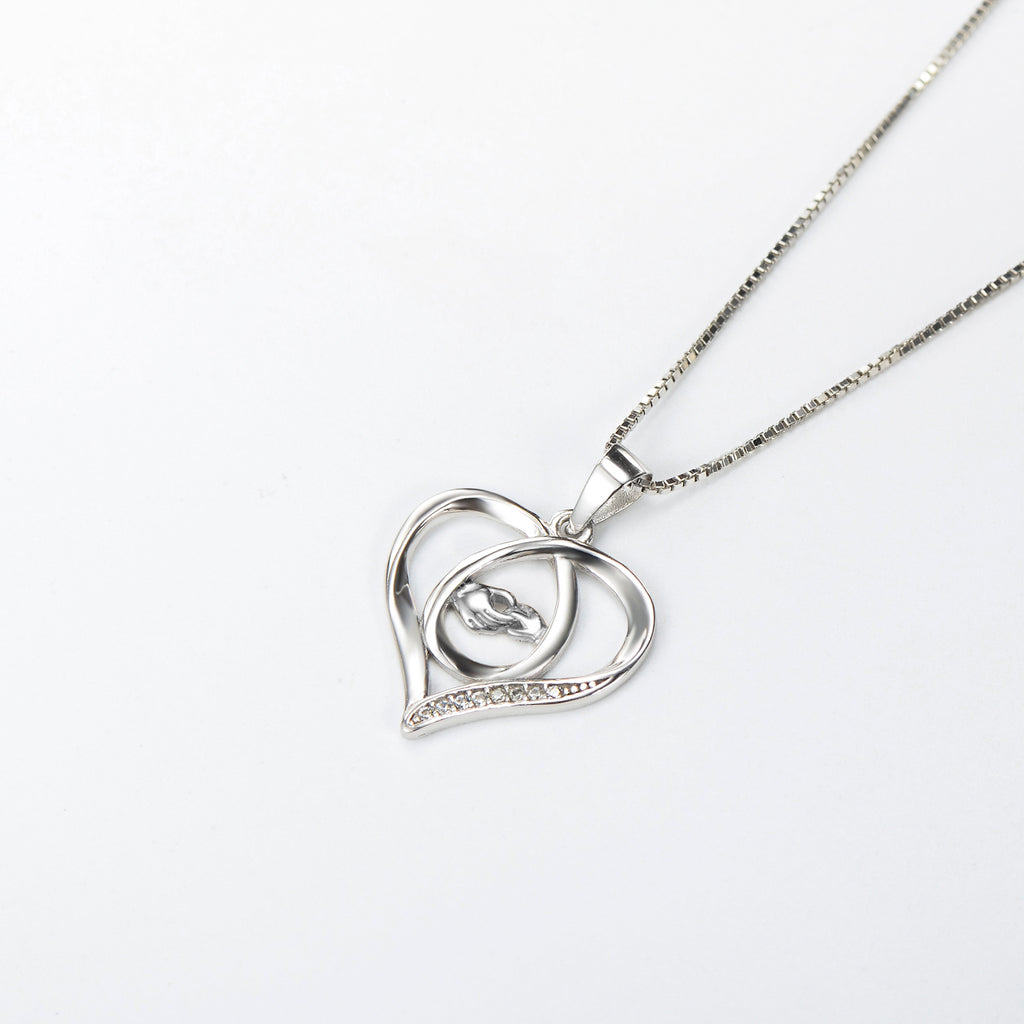 Hand In Hand Necklace Mom and Children Silver Heart Necklace
